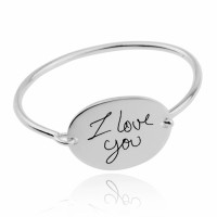 Personalized Oval Signature Bangle in Sterling Silver