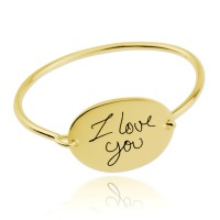 Gold Plated Personalized Oval Signature Bangle