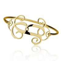 Personalized Cut Out Letter Bangle in Gold Plated