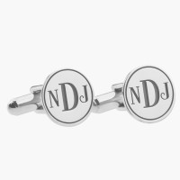 Personalized silver  Initial Monogram Wedding Cufflinks