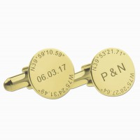 Personalized  Coordinate Cufflinks in Gold Plated