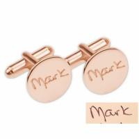 Rose Gold Plated  Engraved Signature Wedding Cufflinks