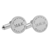 Personalized Coordinate Wedding Cufflinks in Silver