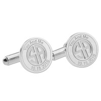 Personalized  Wedding  Date Cufflinks in Silver