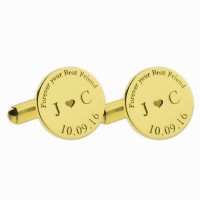 Gold Personalized Wedding Date Cufflinks  With Heart