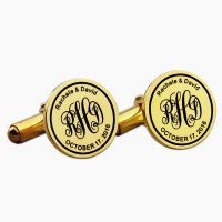 Personalized Groom Wedding Cufflinks in Gold