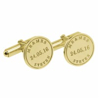 Gold Plated Personalized  Wedding Date Cufflinks