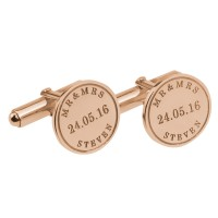 Rose Gold Plated Personalized Groom  Wedding Cufflinks