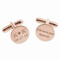 Rose Gold Personalized  Date and Initials Wedding Cufflinks