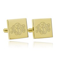 Personalized Square Monogram Wedding Cufflinks in Gold Plated