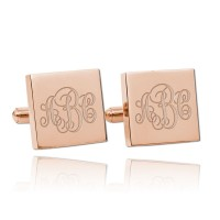 Personalized Square Monogram Wedding Cufflinks in Rose Gold Plated