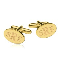 Personalized  Engraved  Monogram Oval Cufflinks in Gold Plated