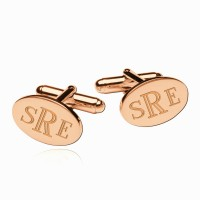 Personalized  Engraved  Monogram Oval Cufflinks in Rose Gold Plated