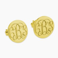 Personalized 3 Initials Monogram Stud Earrings in Gold Plated