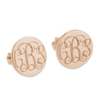 Personalized 3 Initials Monogram Stud Earrings in Rose Gold Plated