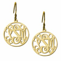 Gold Plated Customized Initials Monogram Earrings