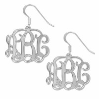 Sterling Silver Personalized Initials Monogram Earrings