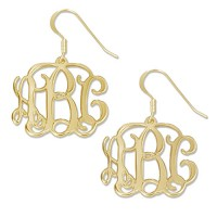 Gold Plated Personalized Initials Monogram Earrings