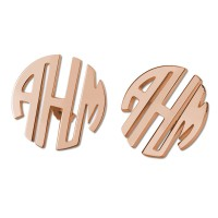 Personalized Rose Gold Plated Block Monogram Stud Earrings