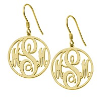 Gold Plated Customized Circle Initials Monogram Earrings
