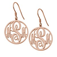 Rose Gold Plated Customized Circle Initials Monogram Earrings