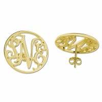 Personalized Gold Plated Block Monogram Stud Earrings