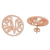 Personalized Rose Gold Plated Block Monogram Stud Earrings
