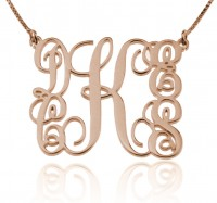 Rose Gold Family Monogram Necklace With 5 Initials