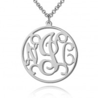 Sterling Silver Circle Monogram Initials Necklace
