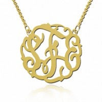 18K Gold Initials Fancy Monogram Necklace