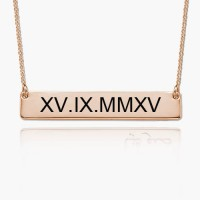 Rose Gold Plated Roman Numeral Bar Necklace