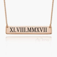 Customized Roman Numeral Bar Necklace in Rose Gold