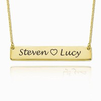 Gold Plated Engraved Bar Necklace With Two Names