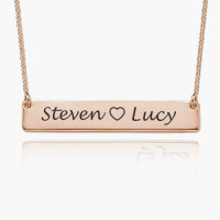 Rose Gold Plated Bar Necklace With Two Names