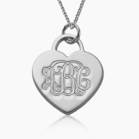 Sterling Silver Heart Monogram Necklace
