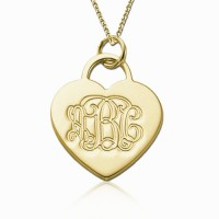 18K Gold Plated Heart Initials Monogram Necklace