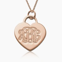 Heart Monogram Necklace in Rose Gold