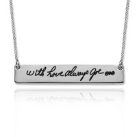 Engraved Signature Bar Necklace in Sterling Silver