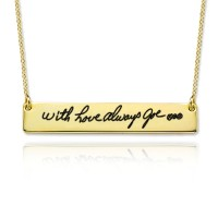 Engraved Signature Bar Necklace in Gold plated