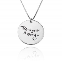 Engraved Circle  Signature Necklace in Sterling Silver