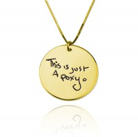 Engraved Circle  Signature Necklace in Gold Plated