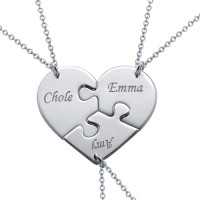 Silver Heart Puzzle Piece Necklace With Name