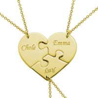 18k Gold Plated Heart Puzzle Piece Necklace With Name