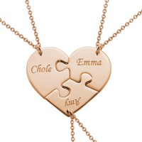 Rose Gold Heart Puzzle Piece Necklace With Name