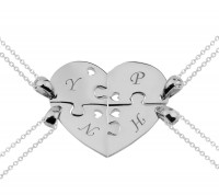 Personalized 4 Pieces Puzzle  Heart Necklace  in Silver