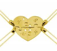 Customized Four Piece Heart Puzzle Necklace for the Family in Gold Plated