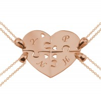 Personalized  5 Pieces Puzzle Heart Necklace in Rose Gold Plated
