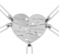 5 Pieces Puzzle Engraved  Necklace For a Heart  in Silver