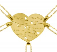 Personalized 5 Pieces Heart Puzzle Necklace For the Family in Gold Plated