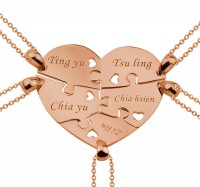 Personalized 5 Pieces Heart Engraved Necklace For the Family in Rose Gold Plated